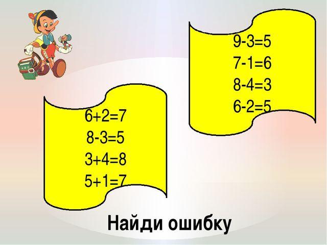 Найди ошибку 6+2=7 8-3=5 3+4=8 5+1=7 9-3=5 7-1=6 8-4=3 6-2=5