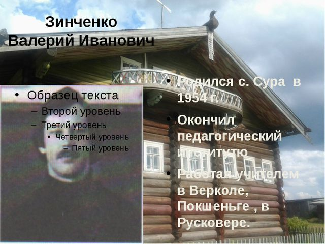 Зинченко Валерий Иванович Родился с. Сура в 1954 г. Окончил педагогический ин...