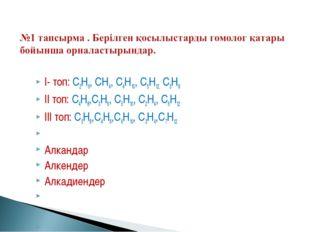 І- топ: С2Н6, СН4, С4Н10, С5Н12, С3Н8 ІІ топ: С4Н8,С3Н6, С5Н10, С2Н4, С6Н12 І