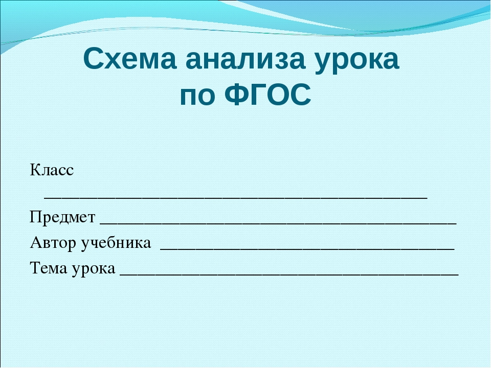 Схема анализа урока по ФГОС Класс __________________________________________...