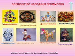 Городецкая роспись Дымковская игрушка Хохломская роспись Жостовская роспись Г