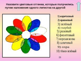 Назовите цветовые оттенки, которые получились путем наложения одного лепест