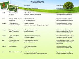 Старшая группа месяц тема содержание Формы работы снтябрь « В зелённом царств