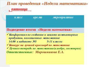 , План проведения «Недели математики» пятница класс время мероприятие Подведе