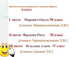 Призовые места распределены следующим образом: 8 классы I место Маренич Ольга