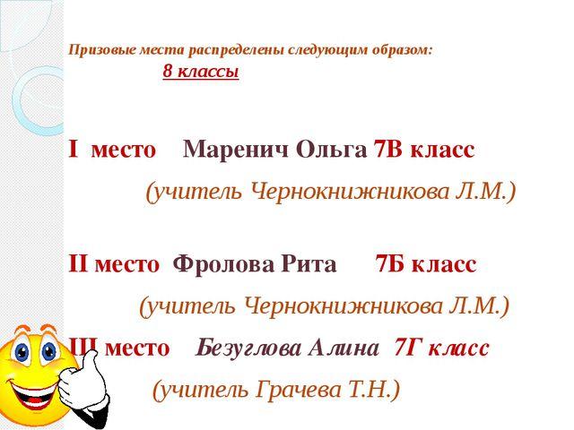 Призовые места распределены следующим образом: 8 классы I место Маренич Ольга...