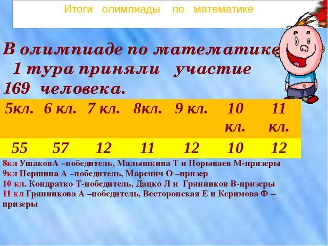 Итоги олимпиады по математике  В олимпиаде по математике 1 тура приняли уча...