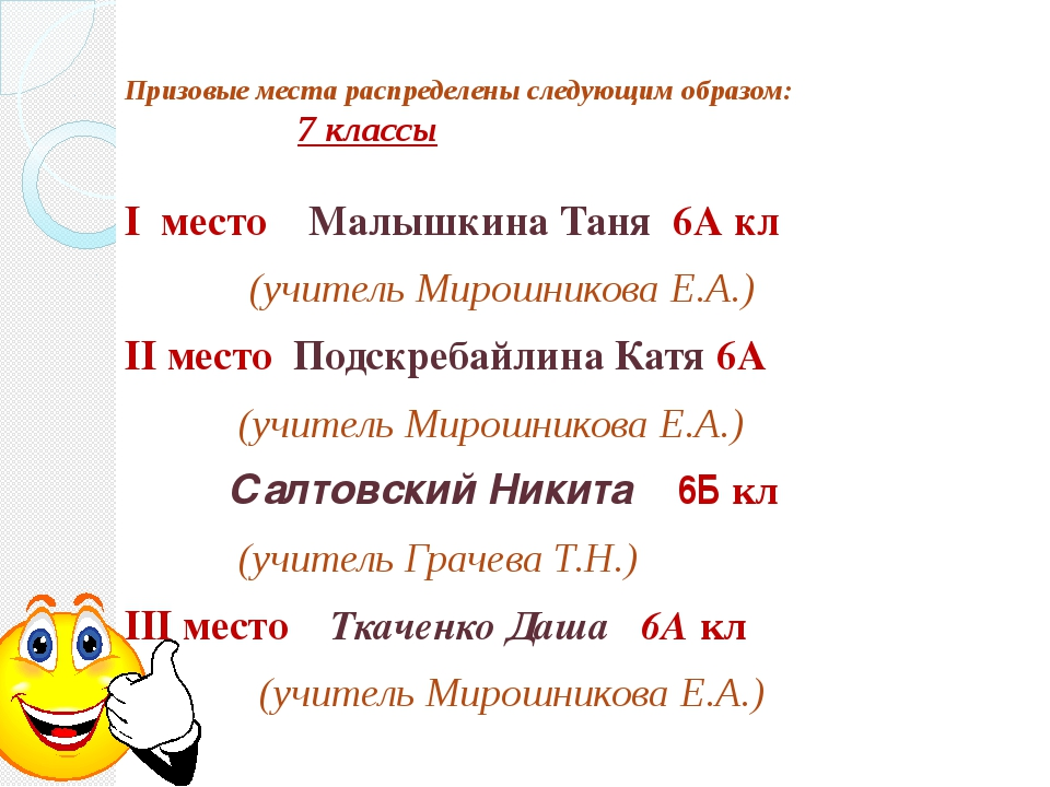 Призовые места распределены следующим образом: 7 классы I место Малышкина Тан...