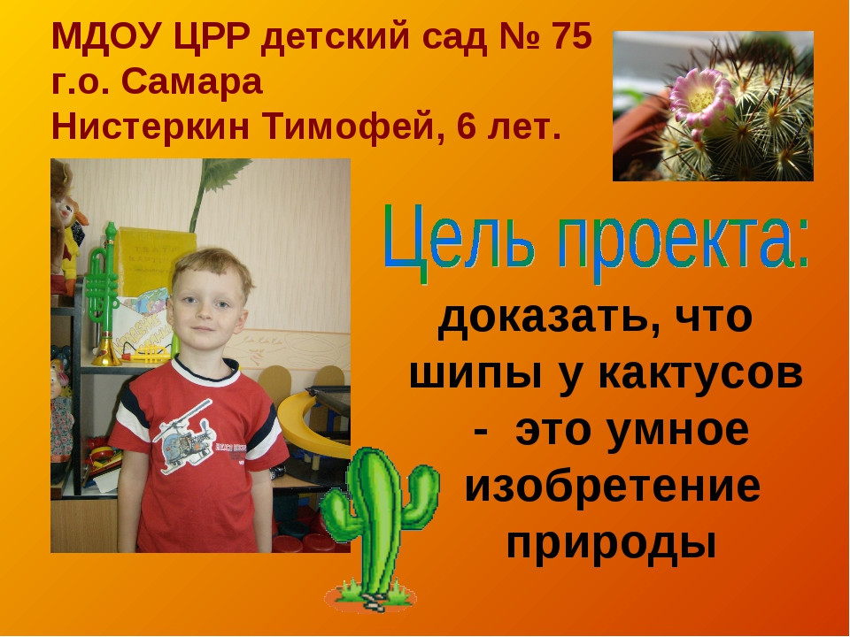 МДОУ ЦРР детский сад № 75 г.о. Самара Нистеркин Тимофей, 6 лет. доказать, что...