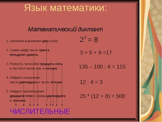 Язык математики: Математический диктант 1. Значение выражения два в кубе. 2....