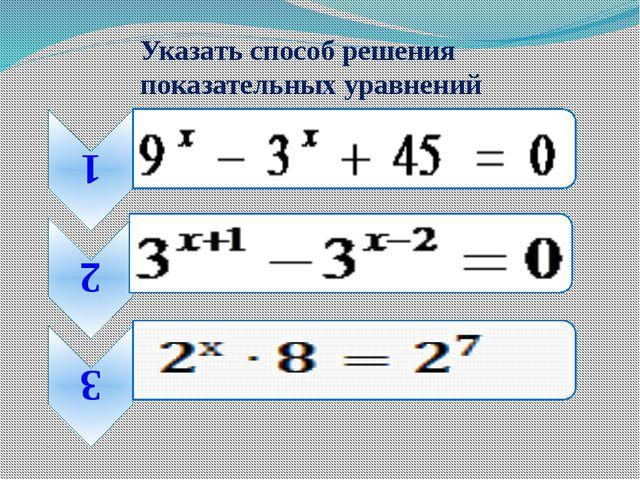 Указать способ решения показательных уравнений