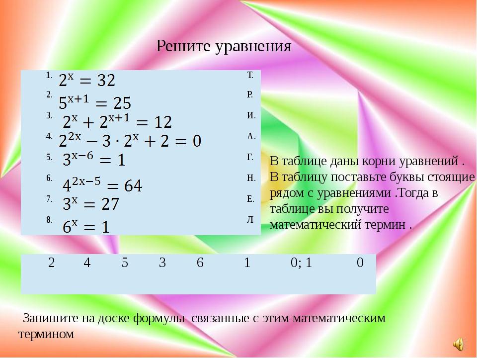 Решите уравнения В таблице даны корни уравнений . В таблицу поставьте буквы...