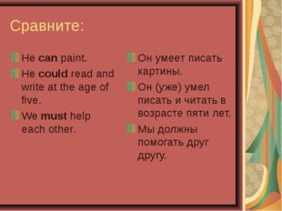 Сравните: He can paint. He could read and write at the age of five. We must h