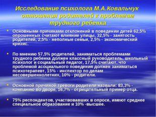 Исследование психолога М.А.Ковальчук отношения родителей к проблемам трудного
