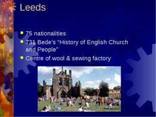 "Leeds 75 nationalities 731 Bede's ""History of English Church and People"" Cent"