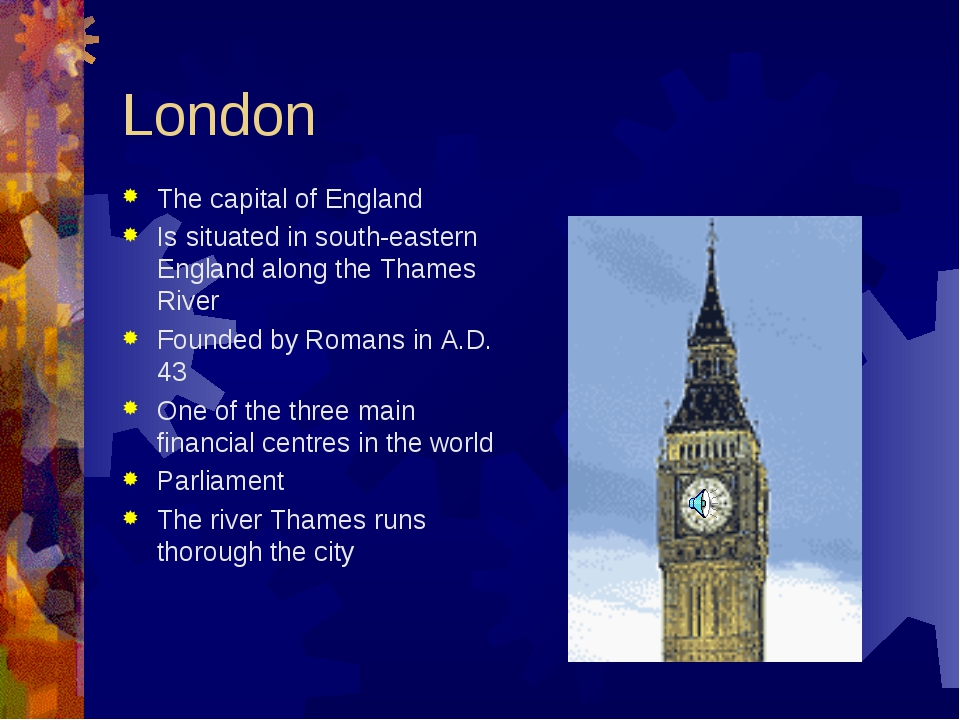 London The capital of England Is situated in south-eastern England along the...