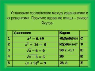 Установите соответствие между уравнениями и их решениями. Прочтите название п