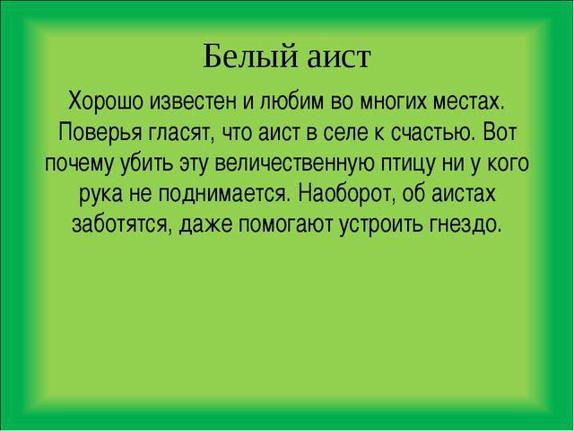 Белый аист Хорошо известен и любим во многих местах. Поверья гласят, что аист...