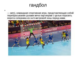 гандбол ГАНДБО́Л (ручной мяч) (англ. handball, от hand — рука и ball — мяч),