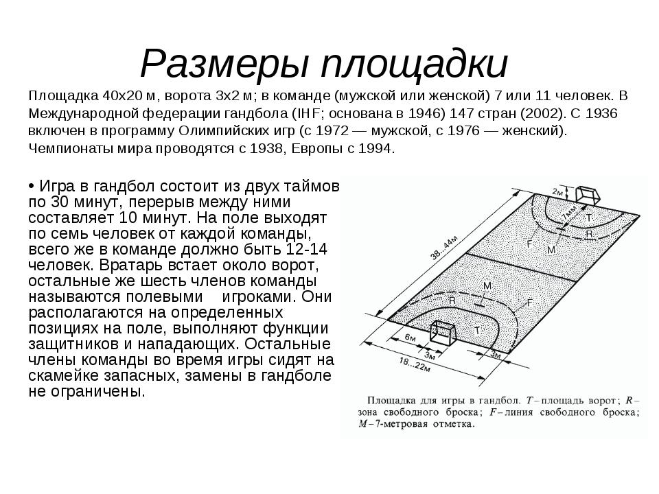 Размеры площадки Площадка 40х20 м, ворота 3х2 м; в команде (мужской или женск...