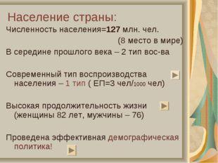 Население страны: Численность населения=127 млн. чел. (8 место в мире) В сере