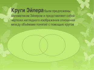 Круги Эйлера были предложены математиком Эйлером и представляют собой чертежи