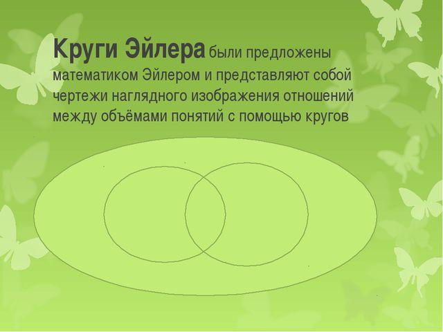 Круги Эйлера были предложены математиком Эйлером и представляют собой чертежи...