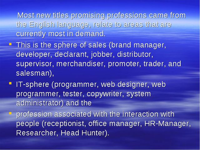 Most new titles promising professions came from the English language, relate...