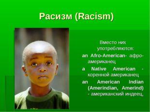 Расизм (Racism)  Вместо них употребляются: an Afro-American- афро-американец