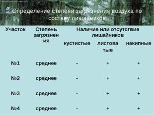 Определение степени загрязнения воздуха по составу лишайников УчастокСтепень