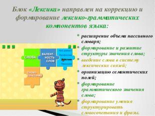 Блок «Лексика» направлен на коррекцию и формирование лексико-грамматических к