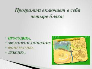 Программа включает в себя четыре блока: ПРОСОДИКА, ЗВУКОПРОИЗНОШЕНИЕ, ФОНЕМАТ