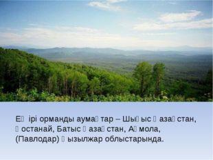 Ең ірі орманды аумақтар – Шығыс Қазақстан, Қостанай, Батыс Қазақстан, Ақмола,