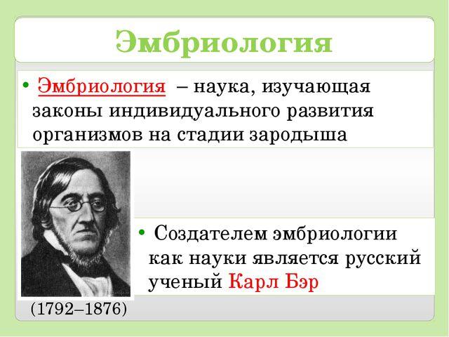 Эмбриология Создателем эмбриологии как науки является русский ученый Карл Бэр...