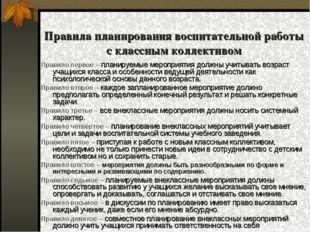 Правила планирования воспитательной работы с классным коллективом Правило пер