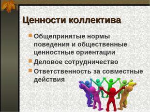 Ценности коллектива Общепринятые нормы поведения и общественные ценностные ор