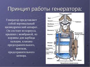 Принцип работы генератора: Генератор представляет собой вертикальный цилиндри