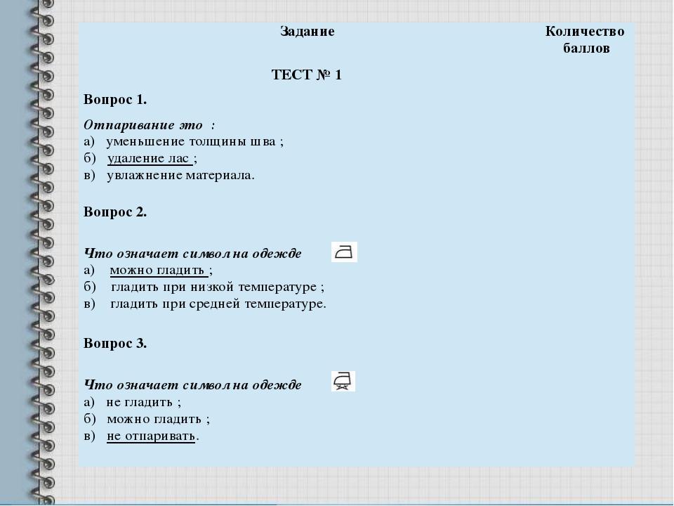 Задание Количество баллов ТЕСТ № 1 Вопрос 1. Отпаривание это : а) уменьшение...
