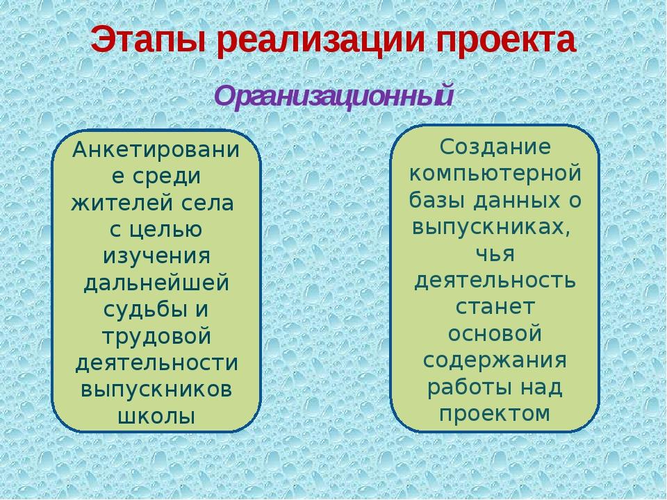 Организационный Этапы реализации проекта Анкетирование среди жителей села с ц...