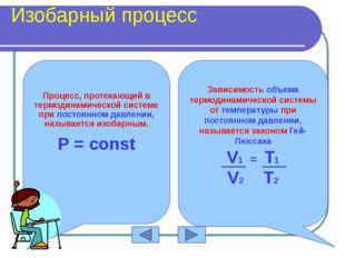 Изобарный процесс P=const Закон Гей-Люссака V T 0 P V 0 P T 0