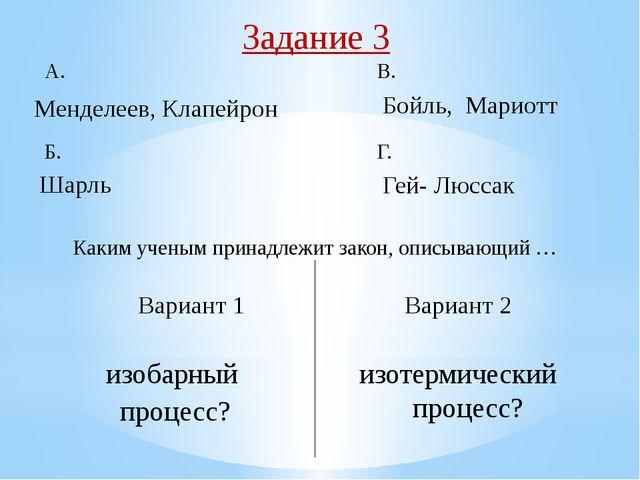 Задание 5 Вариант 1 Вариант 2 В p На каком из рисунков А, Б, В, Г изображен...