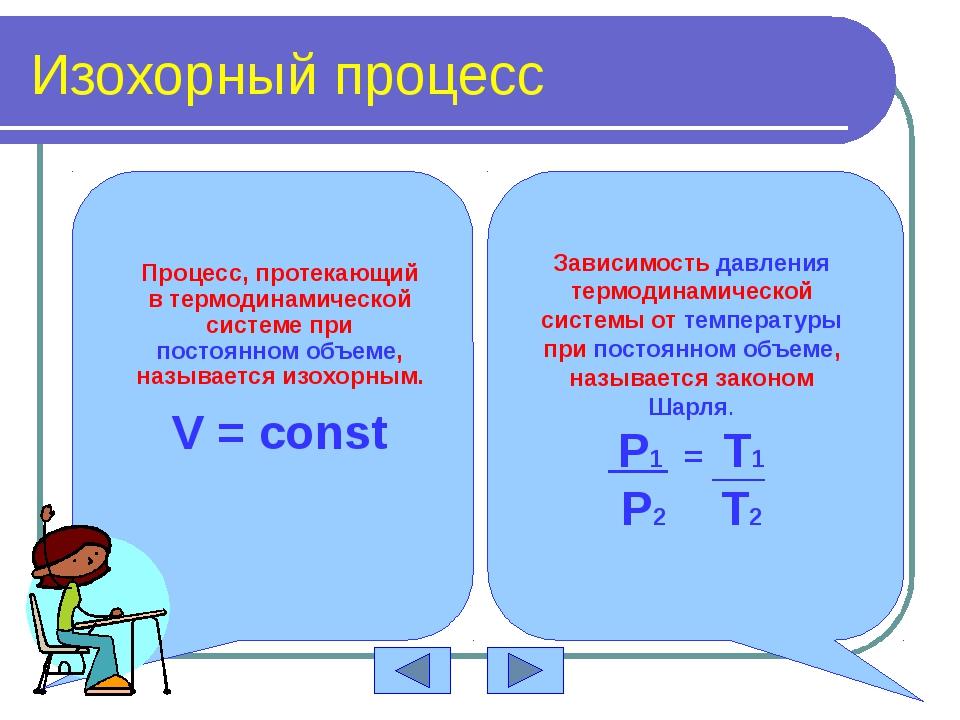 Изохорный процесс V=const Закон Шарля P T 0 P V 0 V T 0