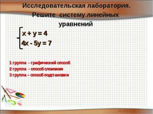 х + у = 4 4х - 5у = 7 1 группа - графический способ 2 группа - способ сло