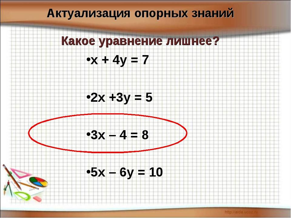 х + 4у = 7 2х +3у = 5 3х – 4 = 8 5х – 6у = 10 Какое уравнение лишнее? Актуал...