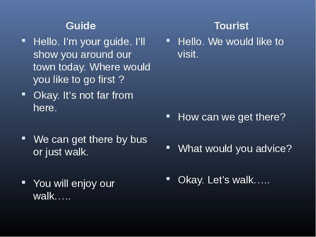 Guide Hello. I'm your guide. I'll show you around our town today. Where woul...