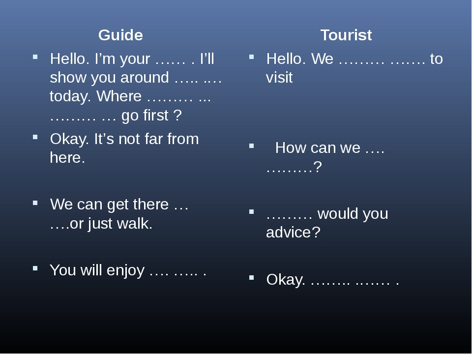 Guide Hello. I'm your …… . I'll show you around ….. .…today. Where ……… ... …...
