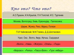Кто это? Что это? А.С.Пушкин, И.А.Крылов, Л.Н.Толстой, И.С. Тургенев Москва,