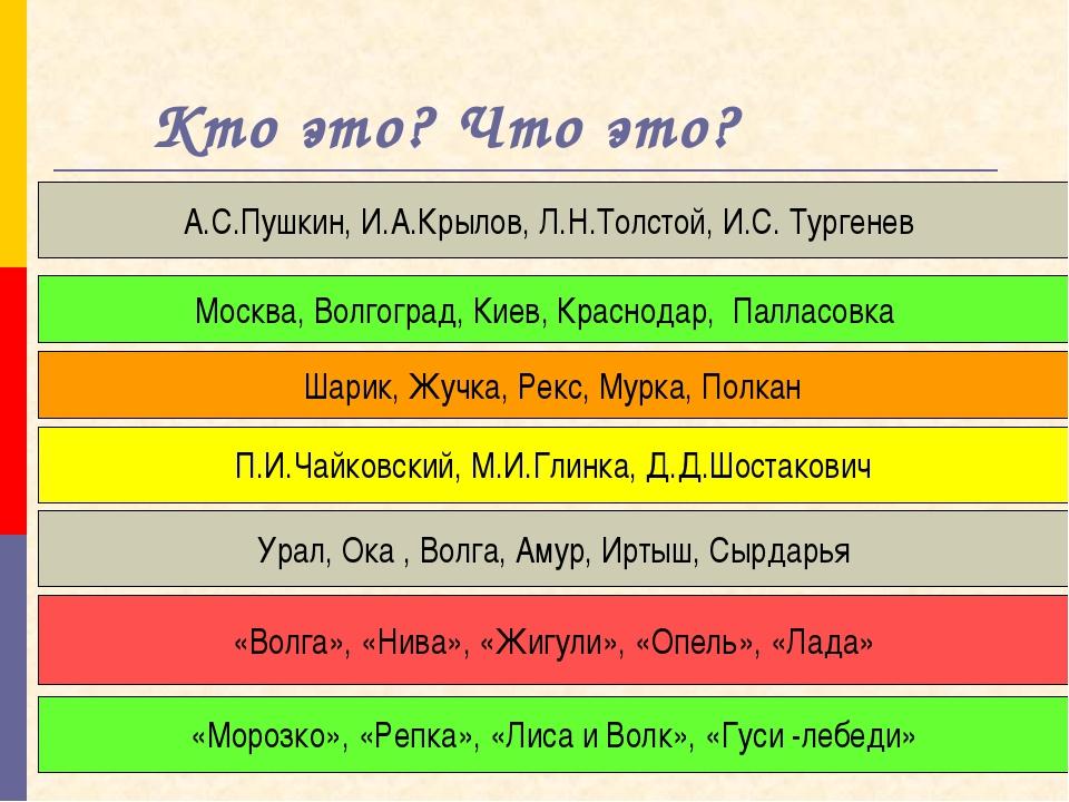 Кто это? Что это? А.С.Пушкин, И.А.Крылов, Л.Н.Толстой, И.С. Тургенев Москва,...