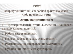 эссе жанр публицистики, свободная трактовка какой-либо проблемы, темы Этапы н