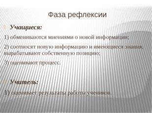 Фаза рефлексии Учащиеся: 1) обмениваются мнениями о новой информации; 2) соот